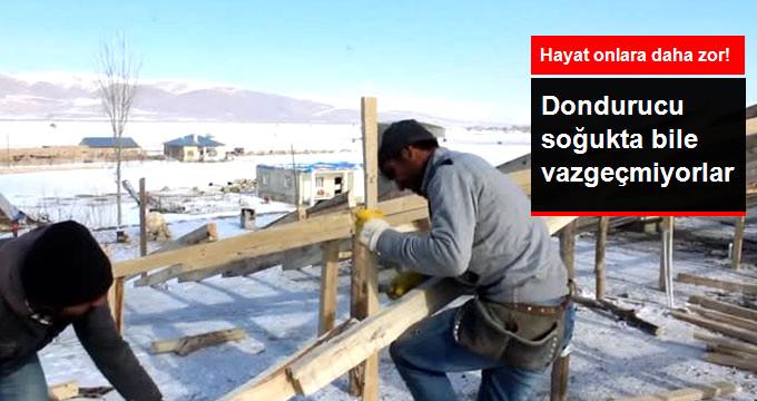 Çatı İşçileri Dondurucu Soğukta Ekmeğini Arıyor